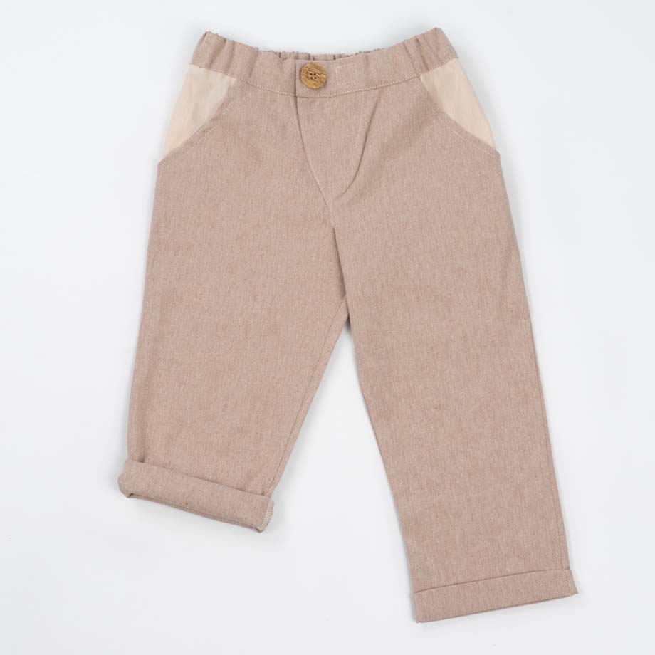 mimOOkids Bottoms Close-Me Pant Sand Recycled Cotton (1)