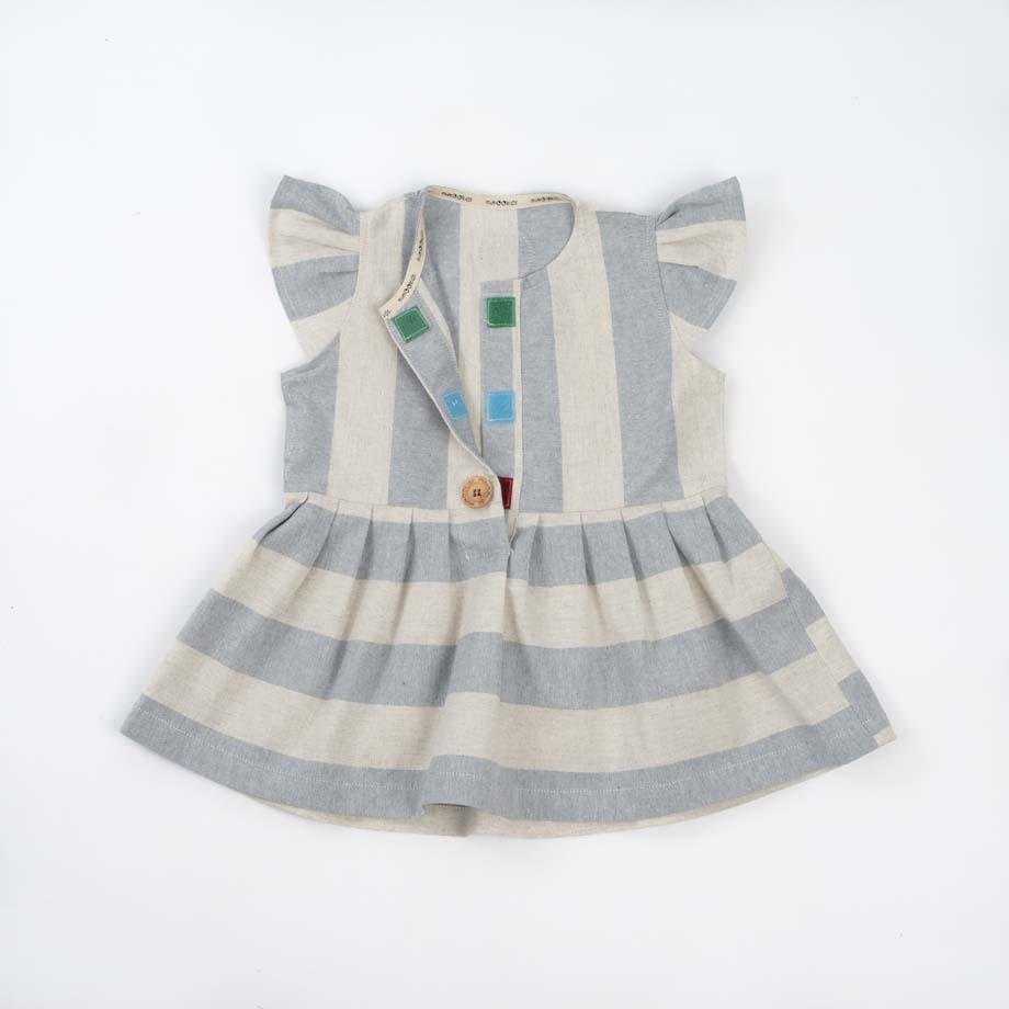 mimOOkids Easy - Dress Baby Blue Stripes (9)