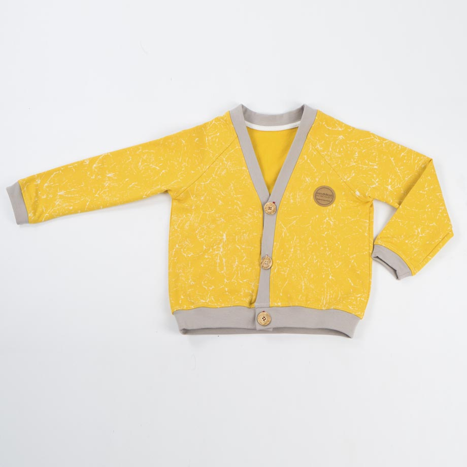 mimOOkids Tops Close-Me Cardigan Marble Yellow (1)