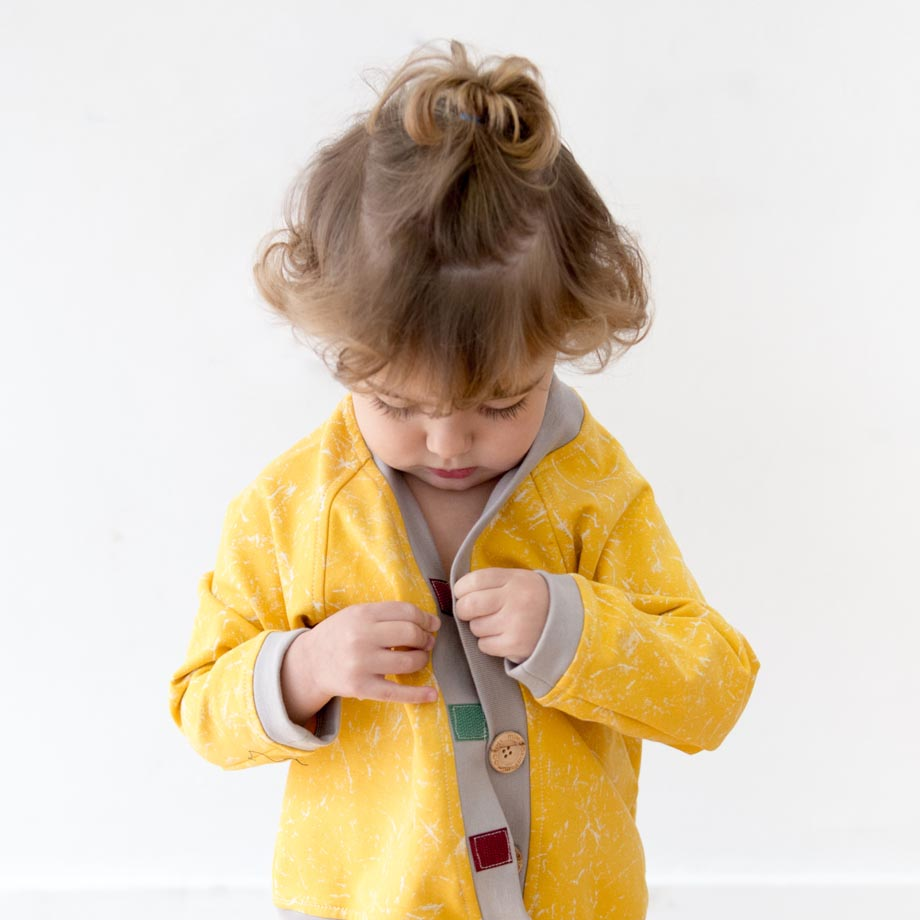 mimOOkids Tops Close-Me Cardigan Marble Yellow (4)