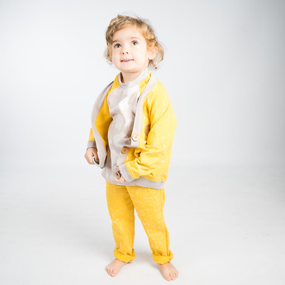 mimOOkids Tops Close-Me Cardigan Marble Yellow (5)