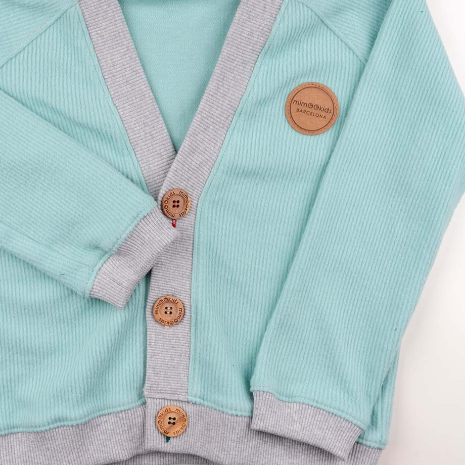 mimOOkids Tops Close-Me Cardigan Mint Corduray (1)