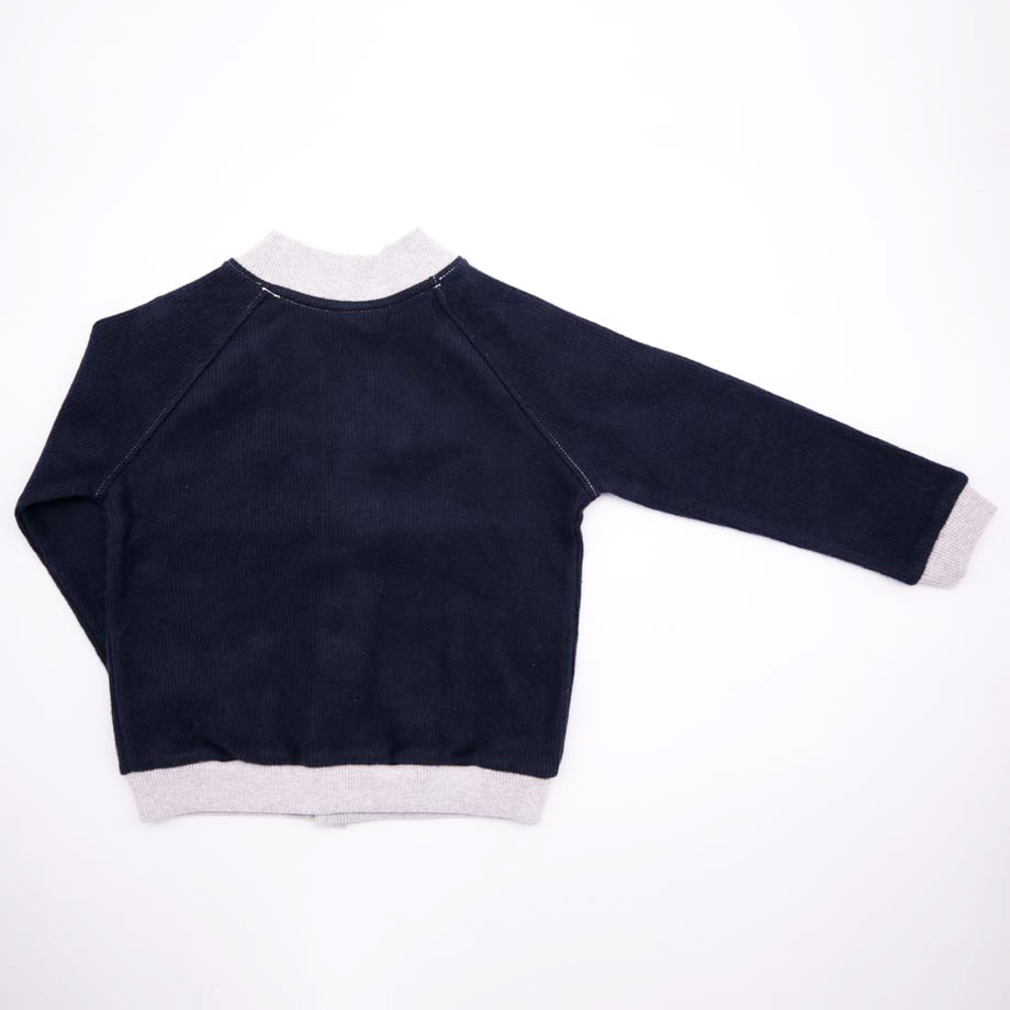 mimOOkids Tops Close-Me Cardigan Navy Grey Corduray (2)