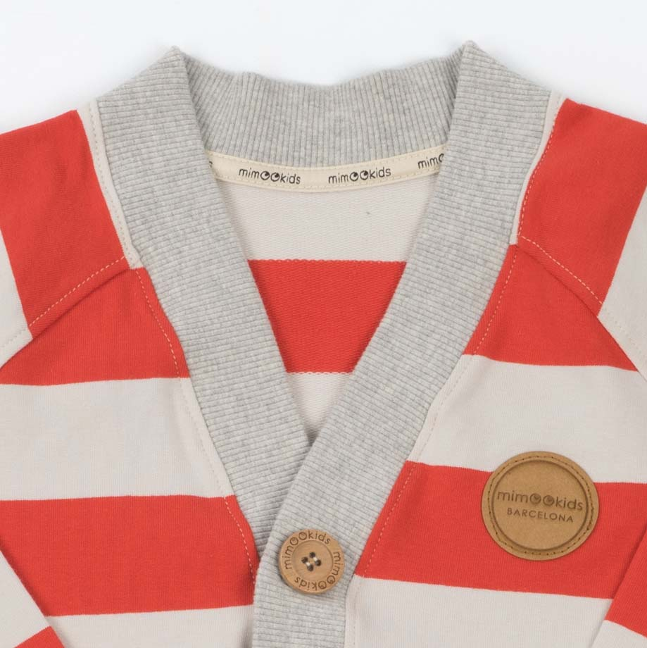 mimOOkids Tops Close-Me Cardigan Red Stripes (3)