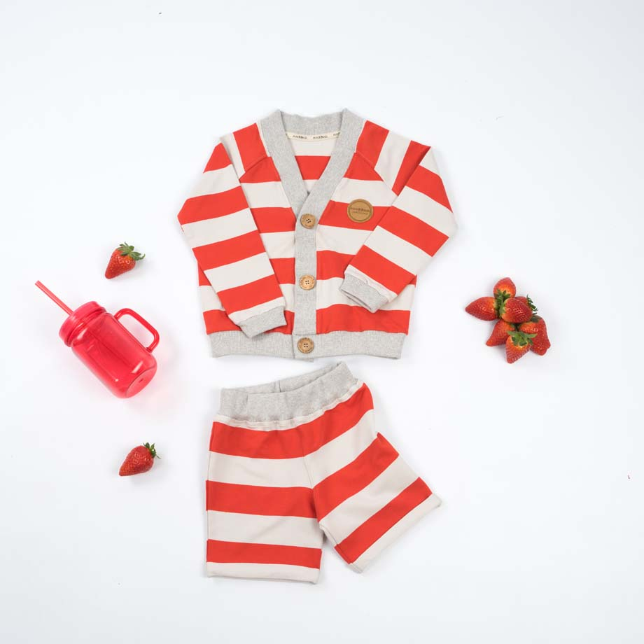 mimOOkids Tops Close-Me Cardigan Red Stripes (4)