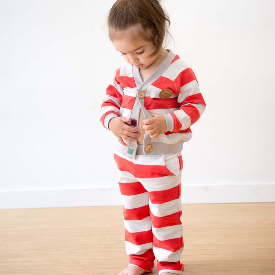 mimOOkids Tops Close-Me Cardigan Red Stripes (8)