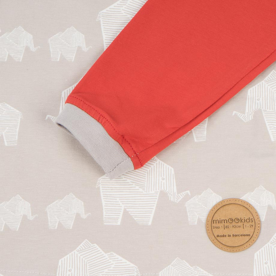 mimOOkids Tops Easy-dressing shirt red elephants (3)