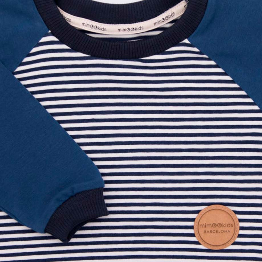 mimOOkids Tops Shirt Long Sleeve Stripes Petrol (4)