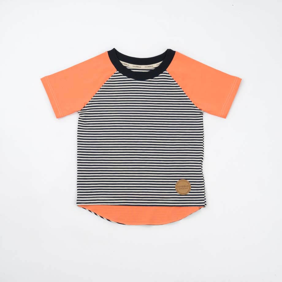 mimOOkids Tops Shirt Short Sleeve Stripes & Papaya (4)