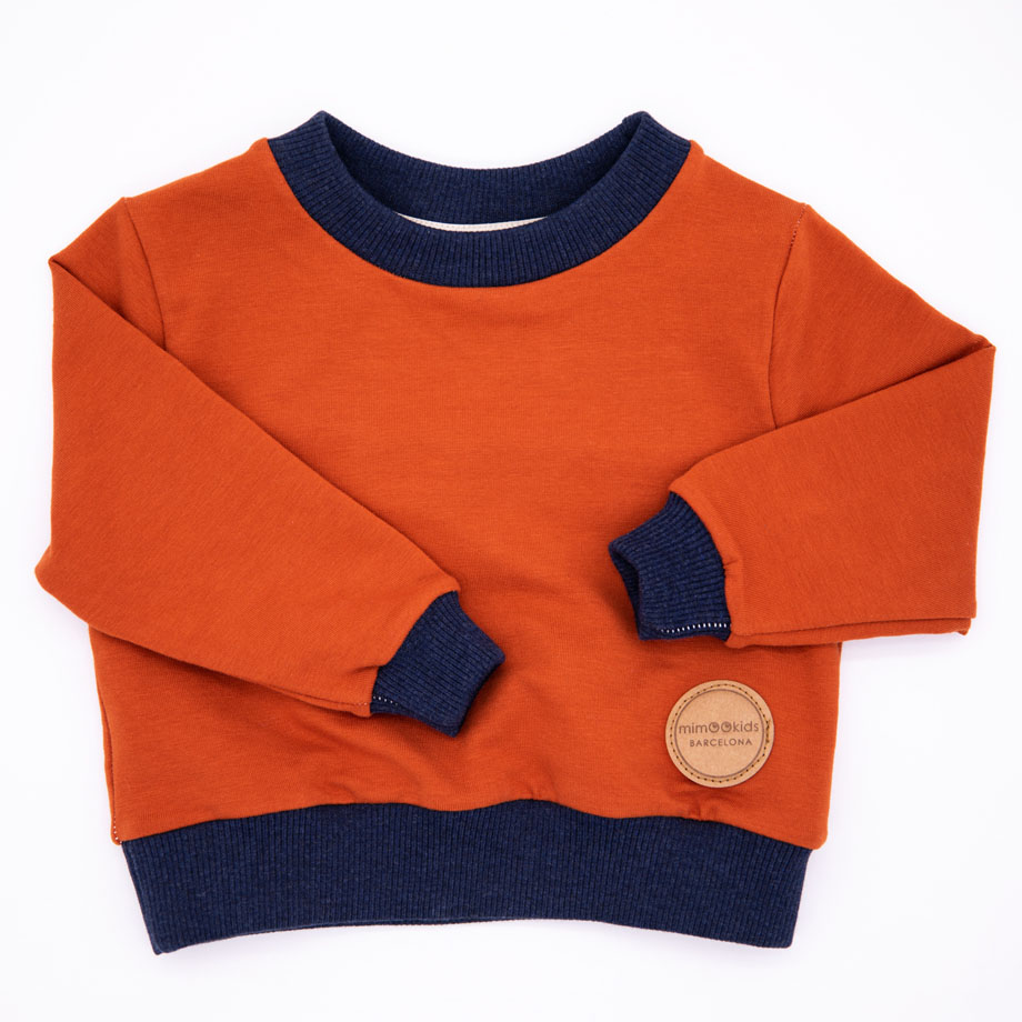 MIMOOKIDS - EASY DRESSING SWEATER CINNAMON-NAVY (1)