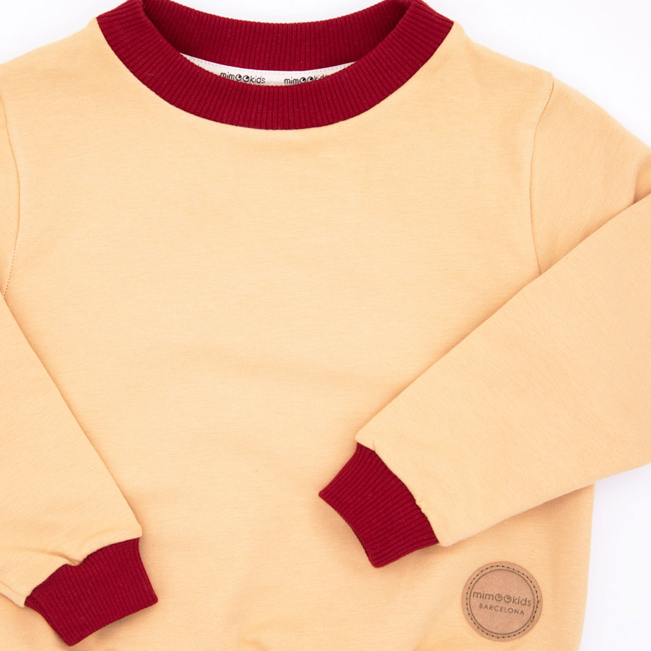 MIMOOKIDS - EASY DRESSING SWEATER-SAND-CHILI (1)