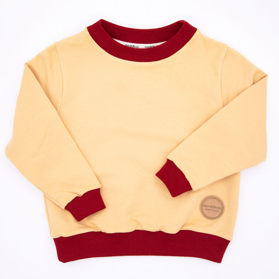 MIMOOKIDS - EASY DRESSING SWEATER-SAND-CHILI (2)