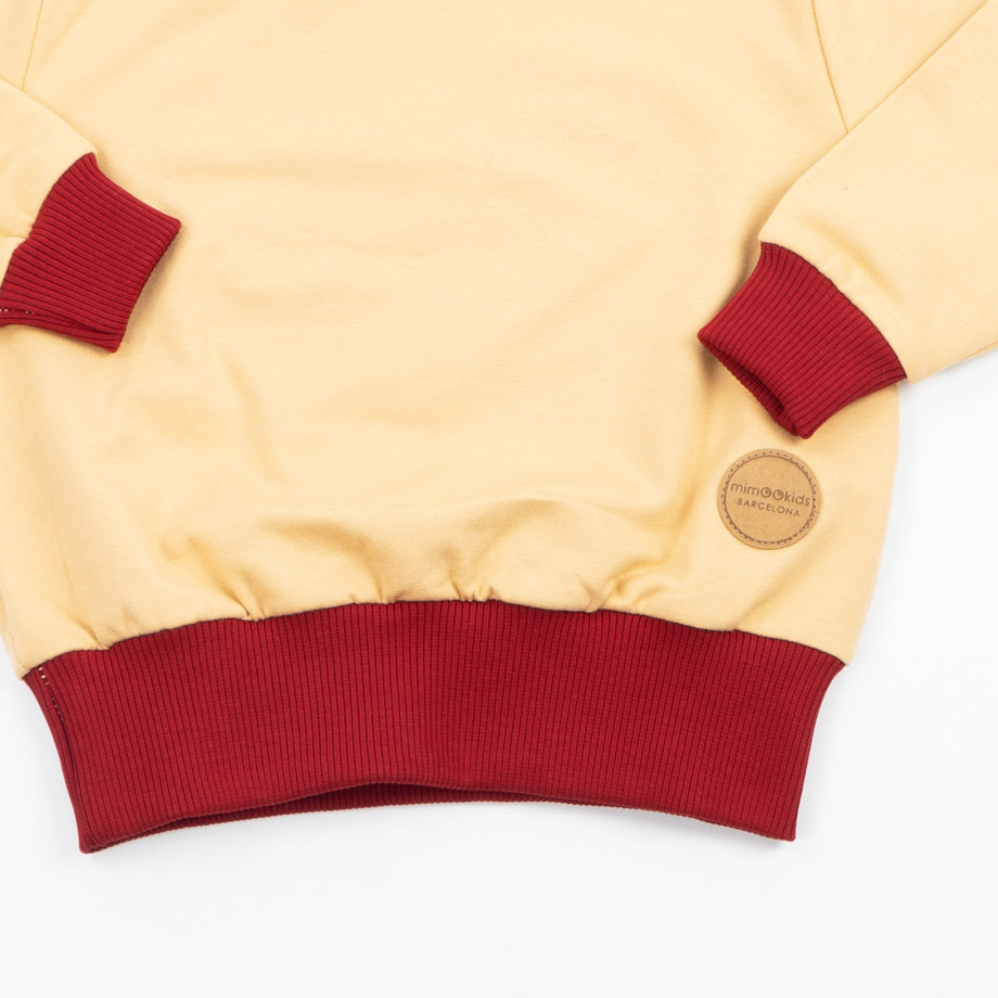 MIMOOKIDS - EASY DRESSING SWEATER-SAND-CHILI (5)